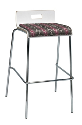 Bar Height Low Back Stool with Fabric Seat