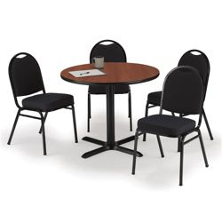 "36"" Breakroom Table and Fabric Chair Set"