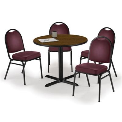 "36"" Breakroom Table and Vinyl Chair Set"