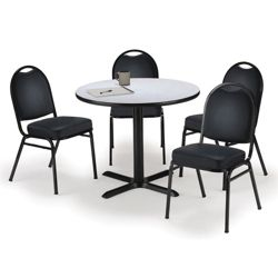 "42"" Breakroom Table and Vinyl Chair Set"