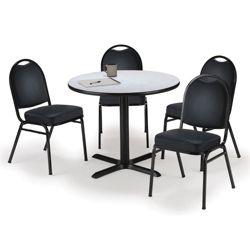 "42"" Breakroom Table and Vinyl Chair Set"