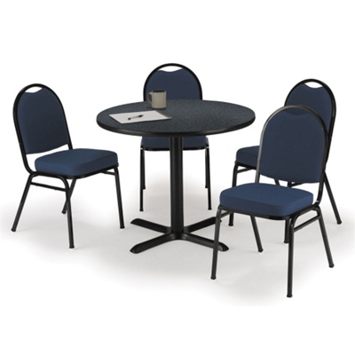 "42"" Breakroom Table and Fabric Chair Set"