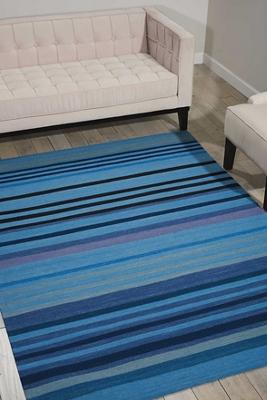 kathy ireland by Nourison Blue Tone Stripe Area Rug 8'W x 10.5'D