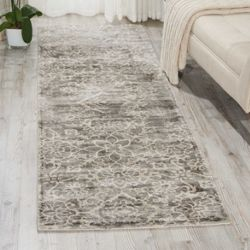 """kathy ireland by Nourison Shiny Floral Runner 2'3""""W x 8'D"""