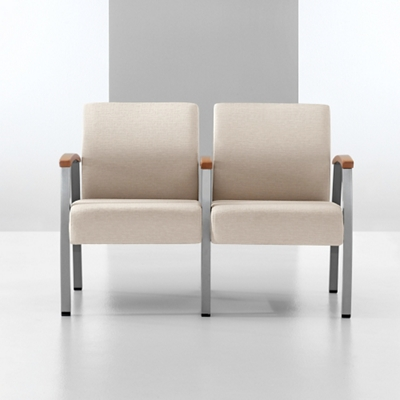 Vinyl Two Seat Chair with Wood Arm Caps and Center Arm