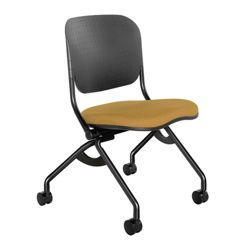 Flexible Poly Back Fabric Seat Armless Nesting Chair
