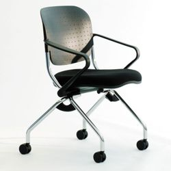 Poly Back and Fabric Seat Nesting Chair
