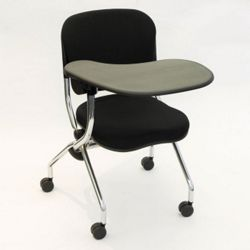 Right Tablet Arm Fabric Nesting Chair