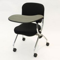 Left Tablet Arm Fabric Nesting Chair