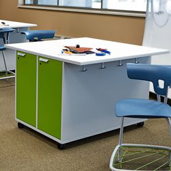 """Mobile Worktable with Dual-Sided Locking Storage - 54""""W x 36""""H"""