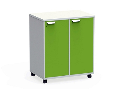 "Mobile Dual-Sided Cubby with Right Locking Doors - 36""W x 42""H"
