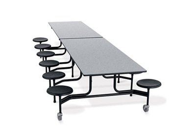 "29""H Fold and Roll Cafeteria Table with Stools - 12'"