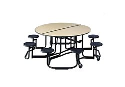 """Mobile Cafeteria Table with Stools and Black Frame - 83.75""""DIA x 29""""H"""