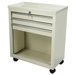 Lakeside Three Drawer Bedside Cart in Beige