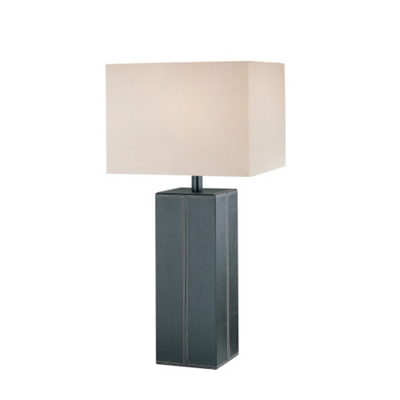 Dark Brown Leather Table Lamp