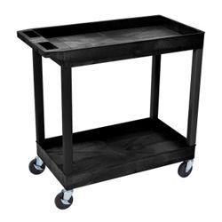 Black Two Shelf High Capacity Tub Cart