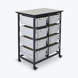 "Mobile Storage Cart with Eight Large Bins – 37.5""H"