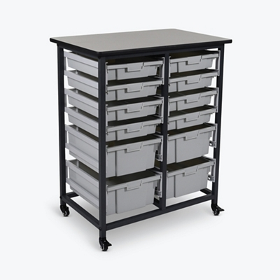 "Mobile Storage Cart with 12 Bins – 37.5""H"