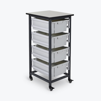 "Mobile Storage Cart with Four Large Bins – 37.5""H"