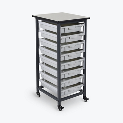 "Mobile Storage Cart with Eight Small Bins – 37.5""H"