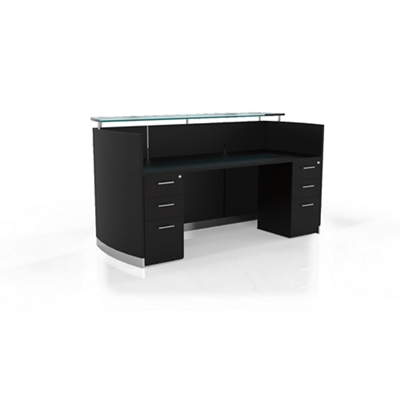"Reception Station with Two File Drawers - 87.25""W"