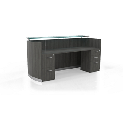 "Reception Station with Three File Drawers - 87.25""W"