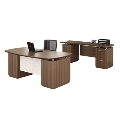 Bowfront Desk and Credenza