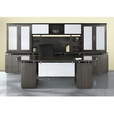 Bowfront Desk with Wall Storage