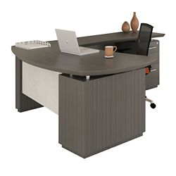 "Right Bowfront L-Desk with Modesty Panel - 72""W"