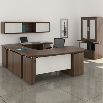 Right Executive U-Desk with Storage Set