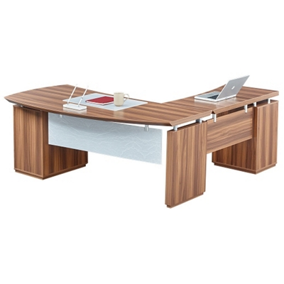 "Left Bowfront L-Desk with Modesty Panel - 72""W"