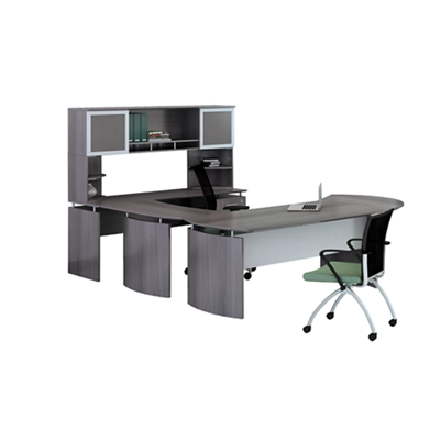 """Right U-Desk with Hutch and Extension - 91""""W"""
