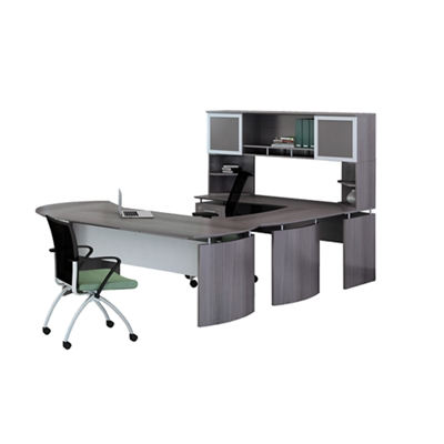 "Left Executive U-Desk with Hutch and Extension - 100""W"