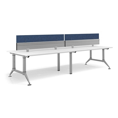 """Dual-Sided Four Person Workstation with Dividers - 144""""W x 48""""D"""