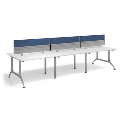 """Dual-Sided Six Person Workstation with Dividers - 144""""W x 48""""D"""