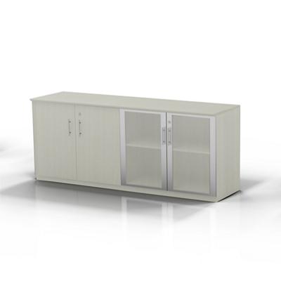 "Glass Door Contemporary Storage Cabinet - 72""W"