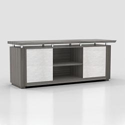 "Six Shelf Low Wall Cabinet with Acrylic Doors - 72""W"