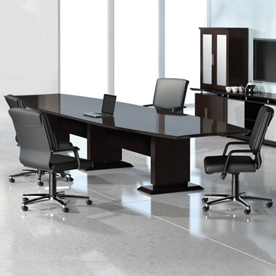 Curved Boat-Shaped Conference Table - 14'