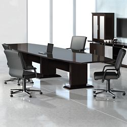 Curved Boat-Shaped Conference Table - 10'