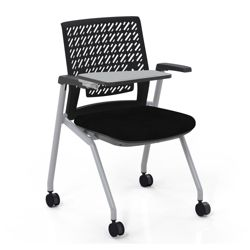 Flexible Back Tablet Arm Nesting Chair with Fabric Seat