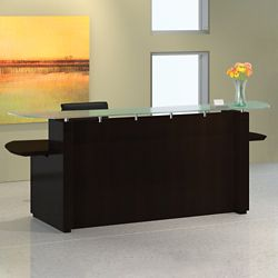 """Double Pedestal Reception Desk with Glass Counter - 96""""W"""