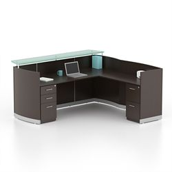 """Double Pedestal Reception L-Desk with Three File Drawers - 87.25""""W"""