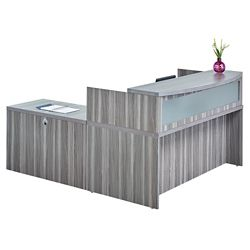 "Reception L Desk with Pedestal - 72""W"