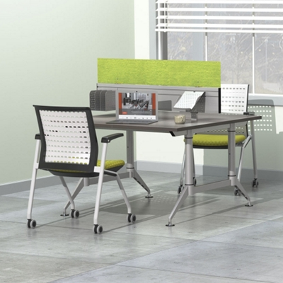 """Dual-Sided Two Person Workstation with Acoustic Privacy Panel - 48""""W x 48""""D"""
