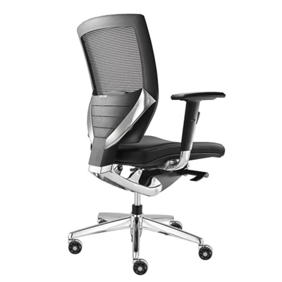 Arris Mid-Back Mesh Chair with Memory Foam Leather Seat