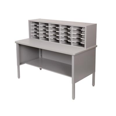Mailroom Organizer w/ Open Storage, 25 Pockets