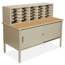 Mailroom Organizer w/ Enclosed Storage, 25 Pockets