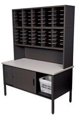 Mailroom Organizer w/ Enclosed Storage, 50 Pockets