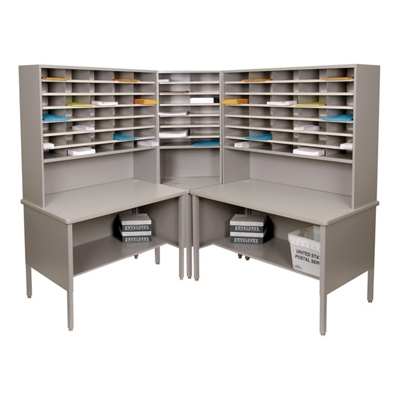 Mailroom Corner Organizer with Riser, Open Storage, 84 Fixed Pockets