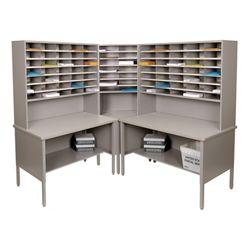 Mailroom Corner Organizer with Riser, Open Storage, 84 Fixed Pockets